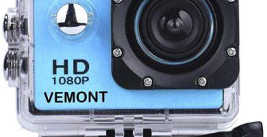 VEMONT - Cámara Deportiva 1080P HD Impermeable 30M Pantalla de 2.0 Lente de Gran Angular de 120 Grados