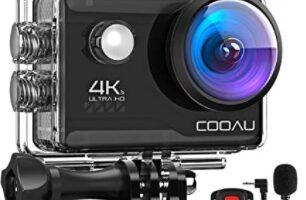 COOAU - Action CAM HD 4K 20 MP WiFi con Webcam PC Modo micrófono Exterior cámara bajo el Agua 40 m con Mando a Distancia EIS estabilización cámara Impermeable