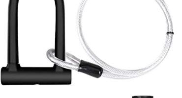 DINOKA - Candado en U, U Lock Candado Bicicleta Alta Seguridad de 16mm con Abrazadera de Soporte + 1200mm de Cable de Acero Trenzado Flexible