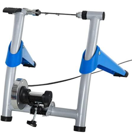 HOMCOM - Entrenador de Bicicleta Rodillo, Plegable Portátil con Resistencia Magnética Ajustable de 8 Niveles