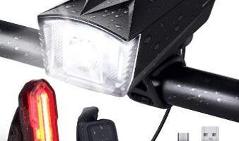OMERIL - Luces Bicicleta Delantera y Trasera Linterna Bicicleta Recargable, IP65 Resistente con 6 Modes, Bocina y Luz
