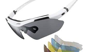 ROCKBROS - Gafas de Sol Polarizadas con 5 Lentes Intercambiables para Ciclismo Bicicleta Running Deportes Protección UV 400 Anti Viento