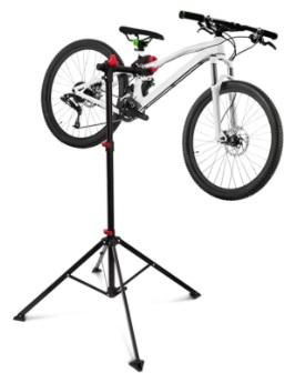 Relaxdays - Soporte Caballete Plegable para Bicicletas, Acero pulverizado, Soporte hasta 30 kg, Altura Ajustable Desde 110-190 cm, Color Negro